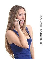 telefone móvel, mulher, feliz