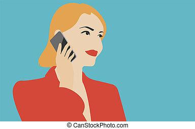 telefone móvel, mulher, ilustração, falando