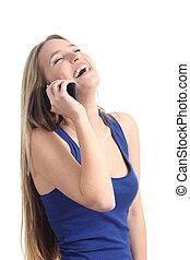 telefone móvel, mulher, rir, feliz