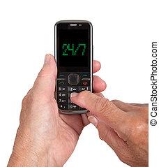 telefone móvel, mulher sênior, mãos