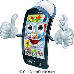 telefone móvel, personagem, reparar