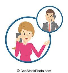 telefone, móvel, pessoas, dois, conversação, entre