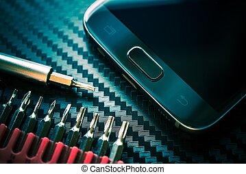 telefone móvel, reparar, actualização