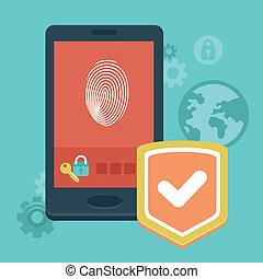telefone móvel, segurança, vetorial