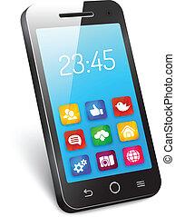 telefone móvel, smartphone, ou, vetorial