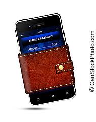 telefone móvel, tela, pagamento, carteira