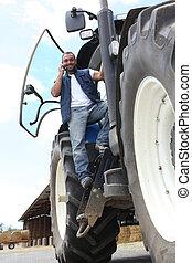 telefone móvel, trator, usando, agricultor
