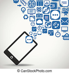 telefone móvel, voando, modernos, ícones