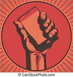 telefone, modernos, célula