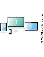 telefone, monitor computador portátil, tabuleta