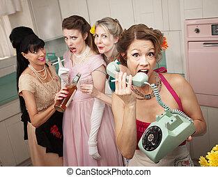 telefone mulher, gritando