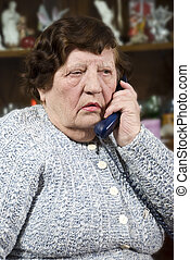 telefone mulher, idoso, falando