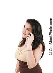 telefone, mulher, jovem, bonito, falando