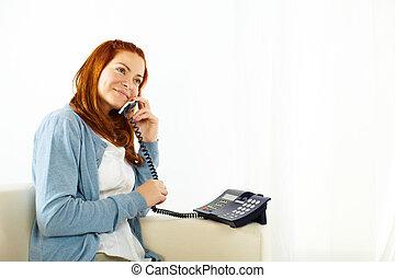 telefone, mulher, jovem, bonito