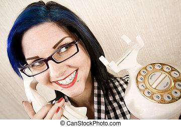 telefone mulher, jovem, bonito