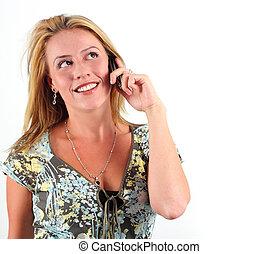 telefone, mulher, jovem, falando