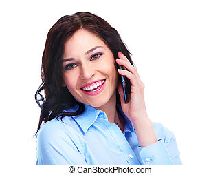 telefone, mulher, jovem, negócio