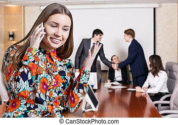 telefone mulher, negócio fala