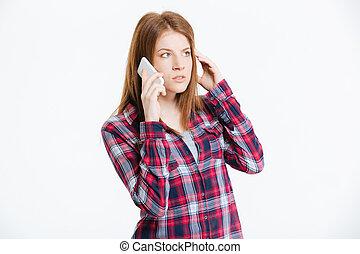 telefone, mulher, pensativo, falando