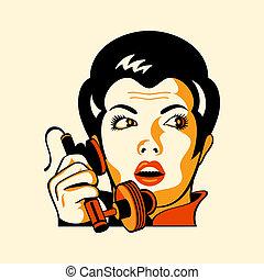 telefone mulher, retro