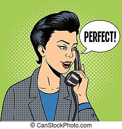 telefone mulher, vetorial, negócio