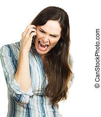 telefone, mulher zangada, gritando