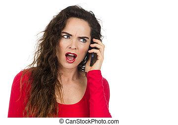 telefone, mulher zangada, irritado, falando