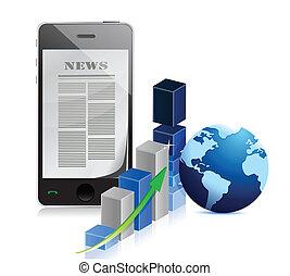telefone, notícia negócio, com, gráfico de barras