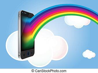 telefone, nuvem, arco íris