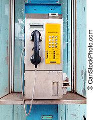 telefone público, em, um, cabana