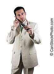 telefone, pedaço orelha, pda, homem negócios