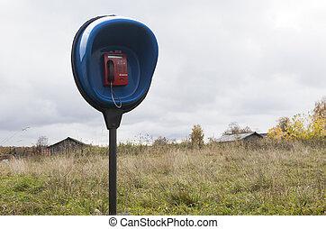 telefone, penetração, a, country., moeda, telefone, em, um, remoto, vila