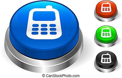 telefone pilha, ícone, ligado, internet, botão