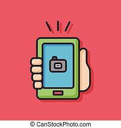 telefone pilha, ícone