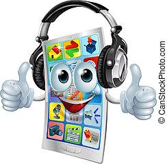 telefone pilha, app, música