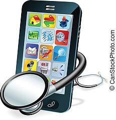 telefone pilha, cheque saúde, conceito
