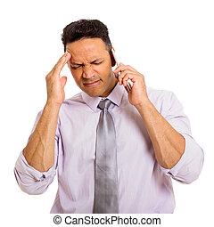 telefone pilha, homem, confundido, falando