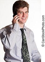 telefone pilha, jovem, homem negócio
