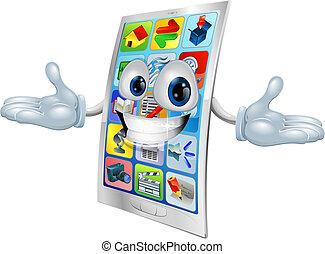 telefone pilha, mascote, caricatura