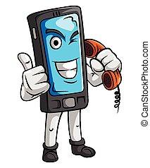 telefone pilha, mascote