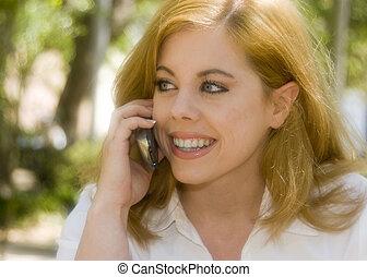 telefone pilha, mulher
