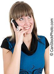 telefone pilha, mulher, jovem, retrato