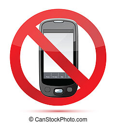 telefone pilha, não, ilustração, sinal
