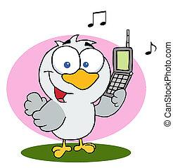 telefone pilha, pássaro, segurando, chamando