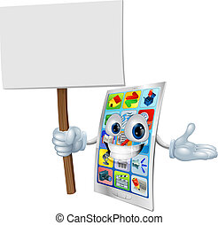 telefone pilha, personagem, caricatura, sinal