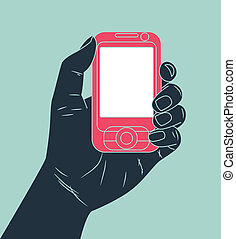 telefone pilha, segurando mão
