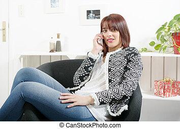 telefone, poltrona, sentando, mulher, jovem
