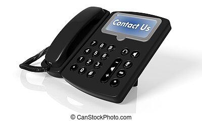 telefone preto, com, contactar-nos, ligado, tela, isolado, branco