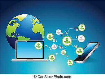 telefone, rede computador, comunicação