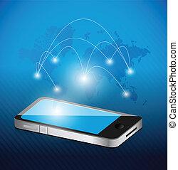 telefone, rede, mapa mundial